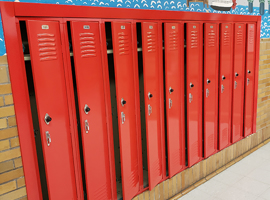 Meyzeek Middle School / JCPS, Kentucky Electrostatic Painting of Lockers
