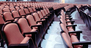 Reupholstered auditorium seating