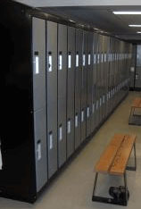 Electrostatic painted lockers at a school or university
