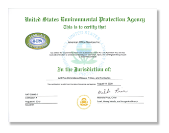 "Lead-Safe Certified Firm ""tree"""